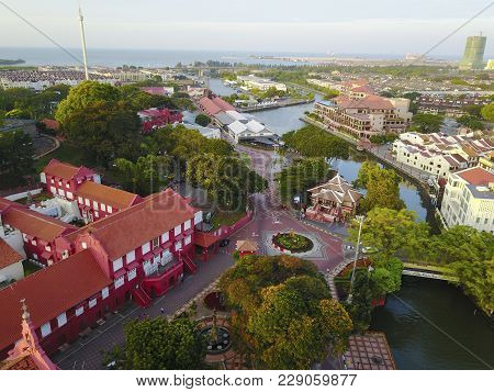 Aerial View Of Malacca City During Sunrise.