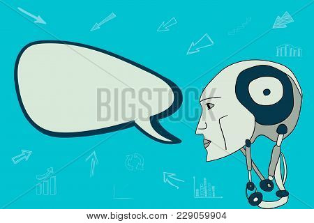 The Head Of The Robot And A Lot Of Conversational Bubbles. Business Talk