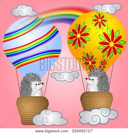 Lovely Little Hedgehogs Fly Into Cartoons, Large Bulky Balloons In The Sky Amidst White Clouds And A