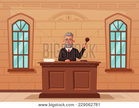 Judge Character With Hammer. Cartoon Vector Illustration. Justice Concept. Law Judicial Legal Procee