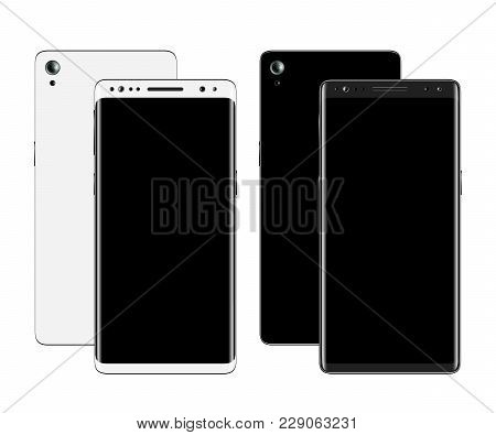 Smartphones Front And Back View Isolated On White Background. Mobile Phone With Blank Screen. Cell P