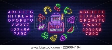 Slot Machine Is A Neon Sign. Collection Of Neon Signs For A Gaming Machine. Game Icons For Casino. V