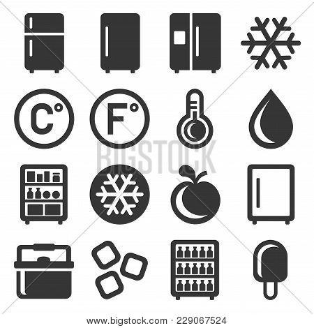 Refrigerator Icons Set On White Background. Vector Illustration