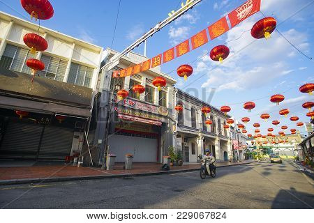 Malacca, Malaysia - February 11, 2018; Red Lanterns And Chinese Letter In Jonker Walk, Malacca