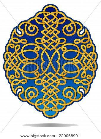 Decorative Ornament With Golden Filigree For Crest Or Decorative Medallion