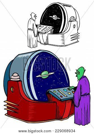 Alien Scientist Studies Our Solar System, Comes With Bonus Black Outline Version