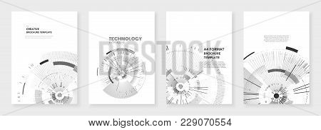 Minimal Brochure Templates. Circle Elements On White Background. Technology Sci-fi Concept, Abstract
