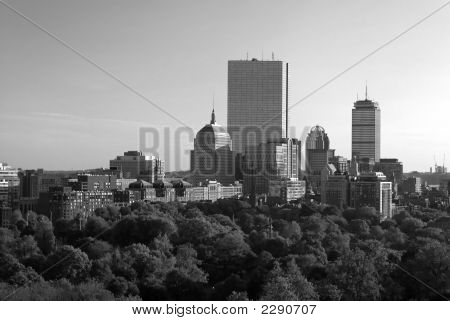 Boston Skyline At Sunset