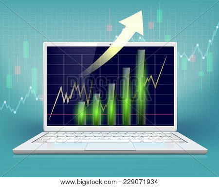 Stock Market Data On Laptop Screen. Graph And Chart With Financial Information. Vector Illustration.