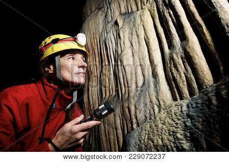 Caving in Hermosa Cave, Zaragoza Province, Aragon, Spain.