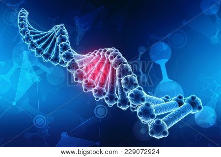 Concept of biochemistry with dna molecule isolated in scientific background, 3d rendering poster