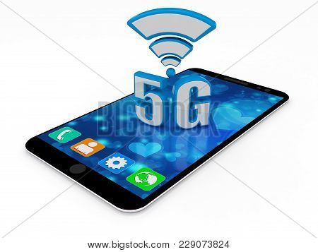 3d Rendering, 5g Network, 5g Connection Concept