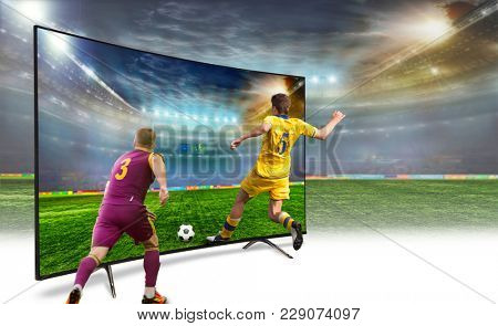 4k monitor isolated on white. Isometric view.   monitor watching smart tv translation of football game.