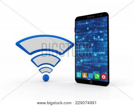 3d Rendering Transmitter Mobile Wifi. Isolated In White Background