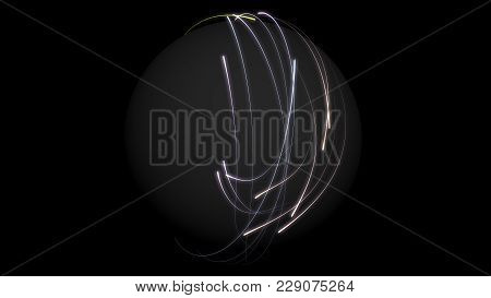 Abstract Colorful Glowing Rays Of Light Enveloping The Sphere On Black Background. Hi-res Illustrati