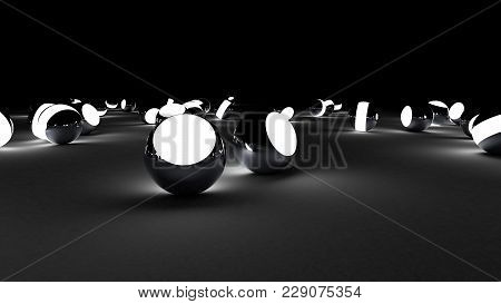 Neon Balls On A Black Background. Abstract Chaotic Glowing Spheres. Futuristic Background. Hi-res Il