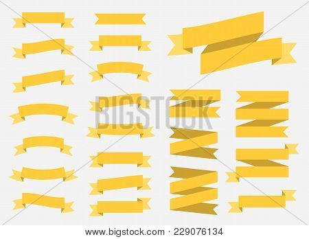 Vector Ribbons Banners Isolated On White Background. Set Of 22 Yellow Ribbons Banners