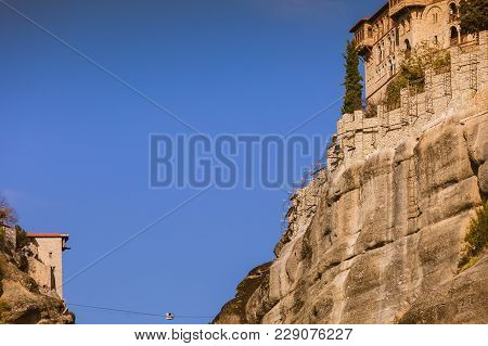 Monastery On Cliff In Meteora, Thessaly Greece. Greek Destinations