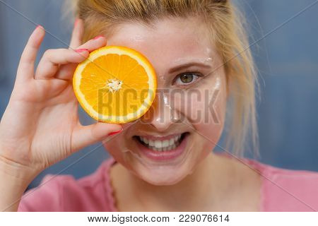 Facial Skin And Body Care, Vitamins Good Complexion Treatment At Home Concept. Young Woman Having Ge