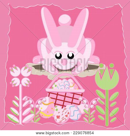 Vector Flat Illustration Of A Pink Rabbit Near A Hole Among Flowers Looking At A Basket Of Easter Eg