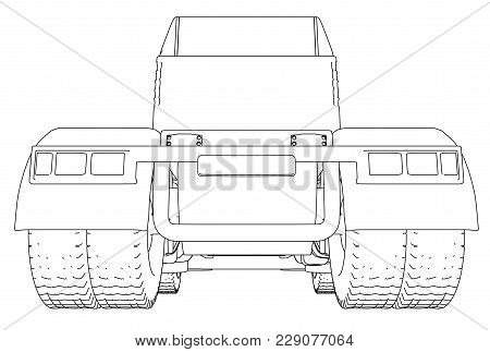 Back View Truck Isolated On White Background. Eurotrucks Delivering Vehicle Layout For Corporate Bra