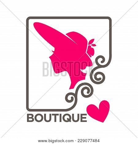 Fashion Boutique Logo Template Of Woman Head Silhouette In Hat And Pink Heart. Vector Isolated Retro