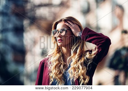 Close Up Fashion Street Stile Portrait Of Pretty Girl In Fall Casual Outfit Beautiful Blond Posing O