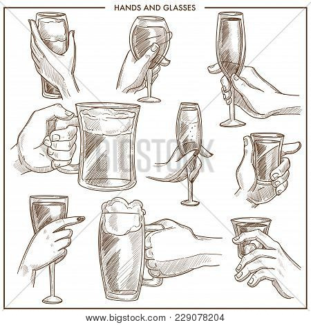 Hands Holding Glasses Vector Sketch Icons Collection. Isolated Set Of Man And Woman Hand Hold Beer M