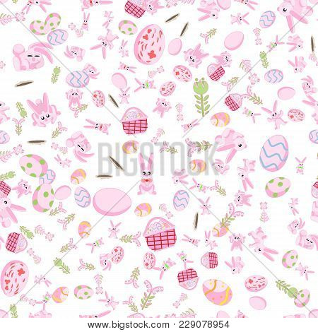 Vector Seamless Flat Pattern Of Pink Rabbits In Different Poses, Plants And Easter Eggs Isolated Whi