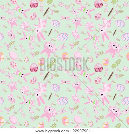 Vector Seamless Flat Pattern Of Pink Rabbits In Different Poses, Plants And Easter Eggs Isolated Gre