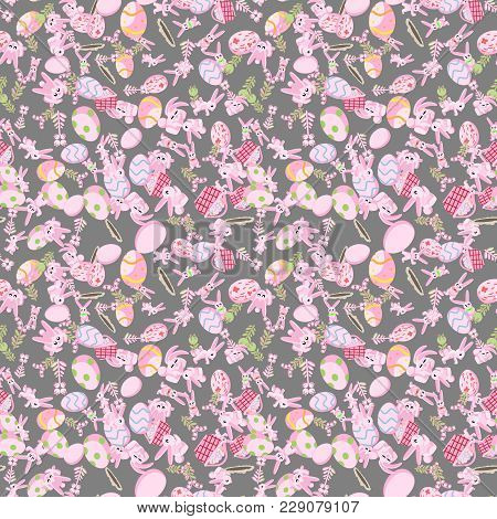 Vector Seamless Flat Pattern Of Pink Rabbits In Different Poses, Plants And Easter Eggs Isolated Gra