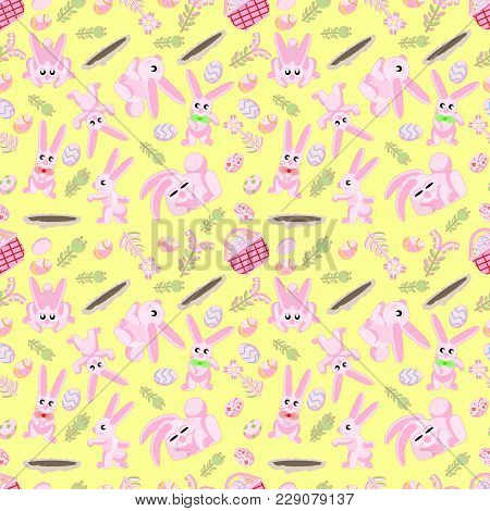 Vector Seamless Flat Pattern Of Pink Rabbits In Different Poses, Plants And Easter Eggs Isolated Yel