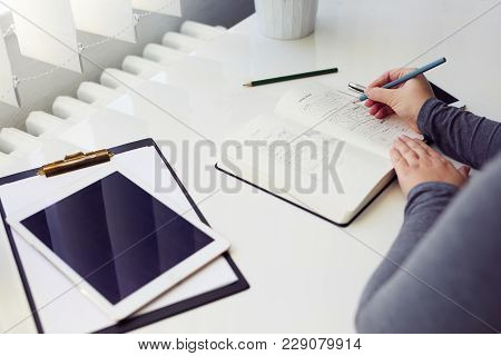 Woman Sketching Graphic Sketch In Office