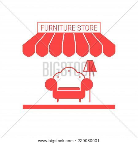 Furniture Store, Home Furnishings Shop Single Flat Vector Icon. Striped Awning And Signboard. A Seri