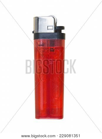 Cheap Red Plastic Gas Disposable Cigarette Lighter On Wooden Surface Closeup Isolated On White Backg