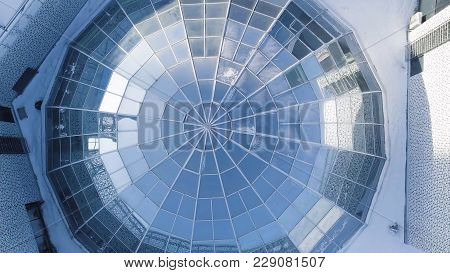 Aerial View On Modern Glass Building Dome. Glass Dome Background. Glass Roof In Building. Top View O