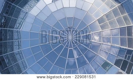 Top View On Structural Glass Facade Curving Roof Of Fantastic Office Building. Modern And Contempora