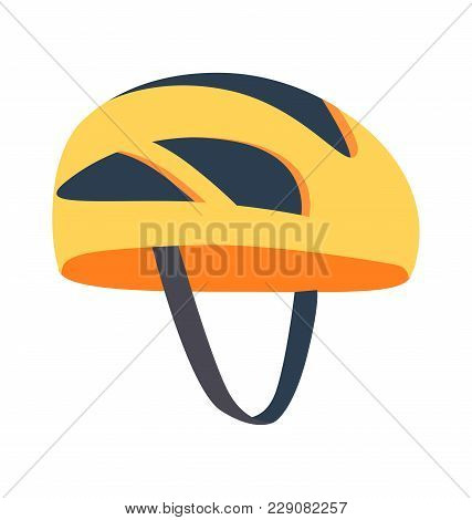 Cute Bright Helmet Template Vector Illustration Of Yellow Helm With Different Shapes Black Holes, On
