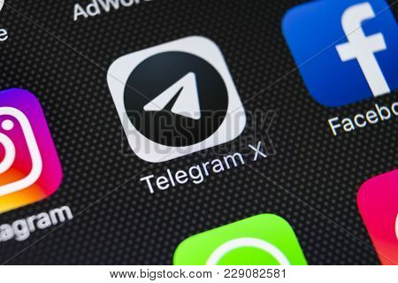 Sankt-petersburg, Russia, March 1, 2018: Telegram X Application Icon On Apple Iphone X Screen Close-
