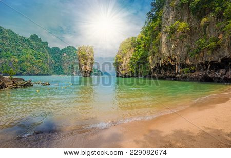 Beautiful Paradise Place On James Bond Island In Thailand, In Summer Holiday
