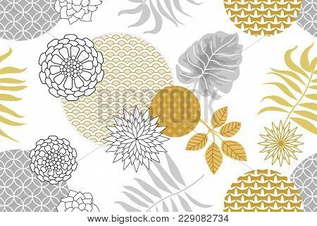 Abstract Flowers, Ornale Circles And Palm Leaves On White Background. Oriental Textile Collection.