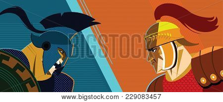 Warrior Versus Warrior. Opposition Of Roman Soldiers To Each Other. Vector Illustration