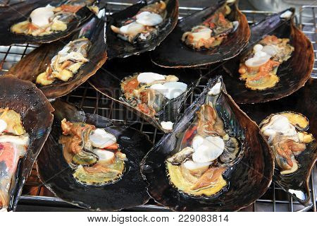 Seafood. Shellfish. Raw Shellfish In Shells For Roasting Bbq