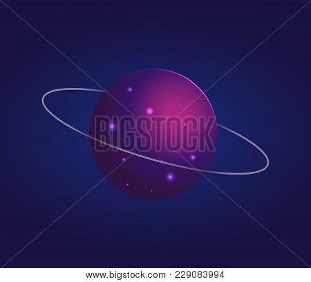 Shiny Mysterious Uranus With Thin Ring Around It In Dark Sky Cartoon Flat Vector Illustration. Huge