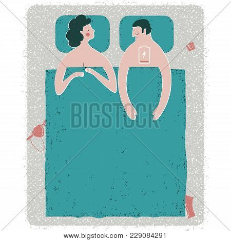 Vector Illustration Of Intimate Problem Situation In Bed . Metaphorical Depiction Of The Erectile Dy