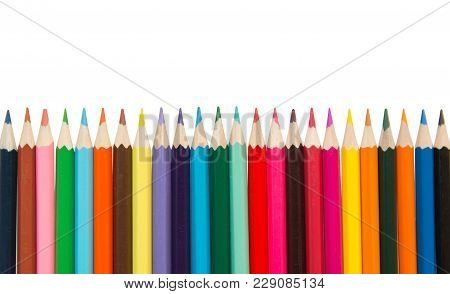 Color Pencils,multicolored Pencils Isolated On White Background With Clipping Path.beautiful Color P
