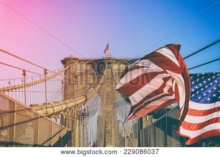 Brooklyn Bridge Over East River, New York City, Ny, Usa American Flag Brooklyn Bridge New York City