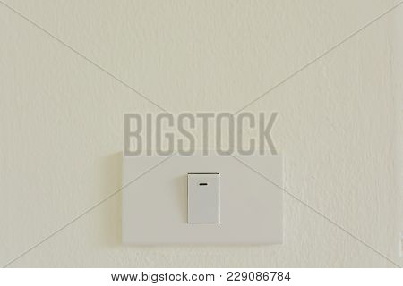 White Light Switch On Wall Turn On Or Turn Off The Lights, Copy Space