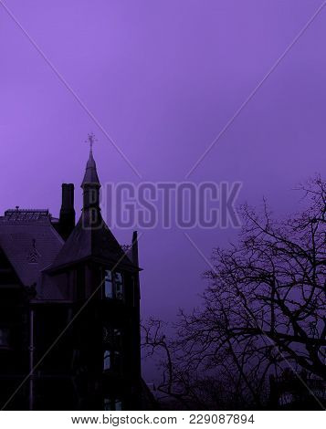 Scary Black Gothic Building Silhouette And Barren Tree On Purple Background Photo