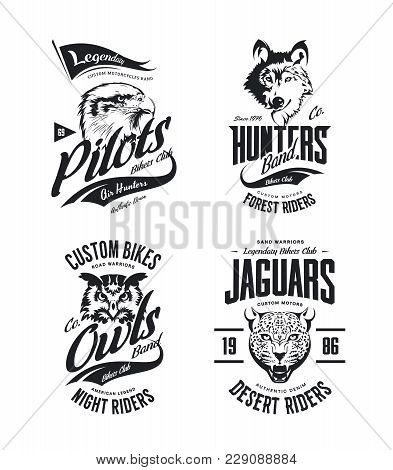 Vintage Jaguar, Wolf, Eagle And Owl Bikers Club T-shirt Vector Isolated Logo Set. Premium Quality Mo